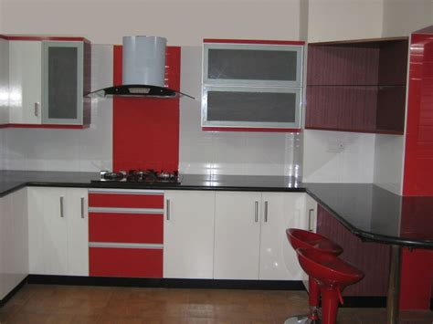 Kitchen Modular Ideas White by White And Red Wooden Counter With Black Top Added By White
