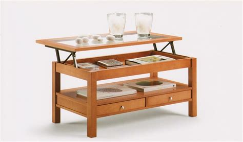 mesa centro con cajones mesa de centro tapa cristal elevable con cajones ref