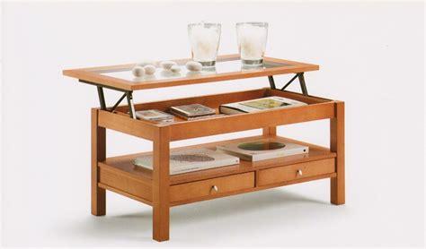 mesa de centro tapa cristal elevable  cajones ref