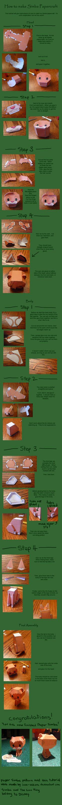 Papercraft Tutorial - simba papercraft tutorial by arcelian on deviantart