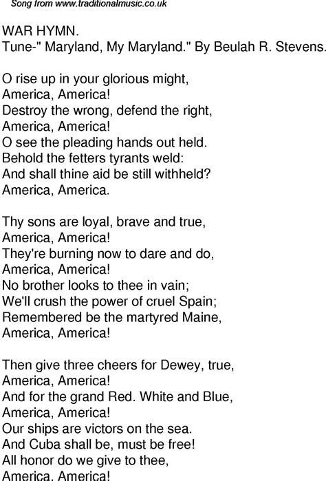 song ware time song lyrics for 59 war hymn