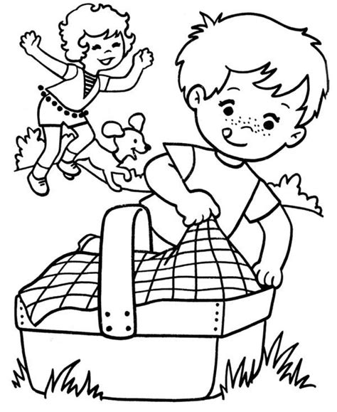 coloring pages of family picnic family picnic netart