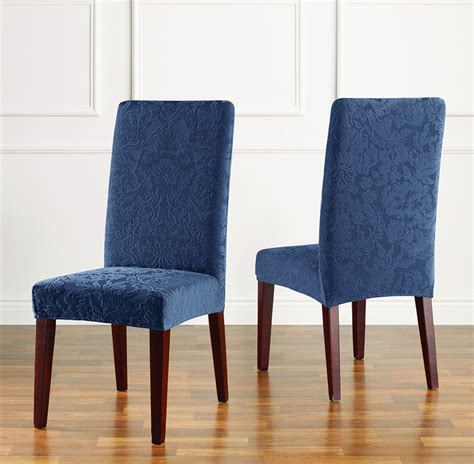 stretch slipcovers for chairs stretch jacquard damask short dining chair slipcover