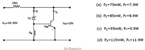 voltage regulator using zener diode and bjt gate 2018 previous solutions lectures for free gate questions on quot bipolar junction