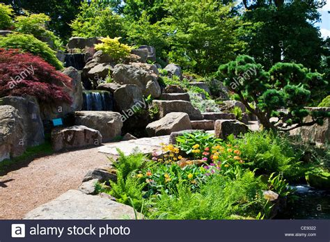 rock garden waterfall a small waterfall in the rock garden at rhs wisley surrey