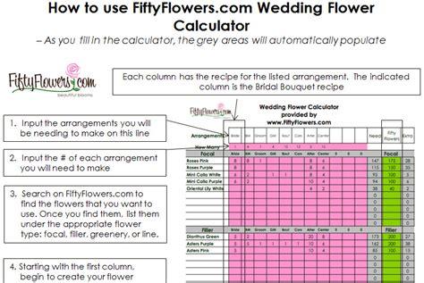 printable wedding flowers worksheet wedding flower recipe worksheet fiftyflowers