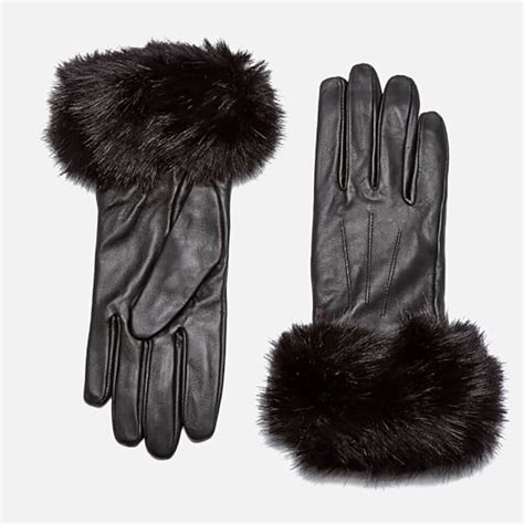 By Ralph Faux Fur Trim Gloves by Barbour S Faux Fur Trimmed Leather Gloves Black