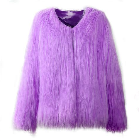 warm purple 2017 new women fur coat fluffy thick warm purple long