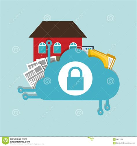 home security cloud document folder padlock stock