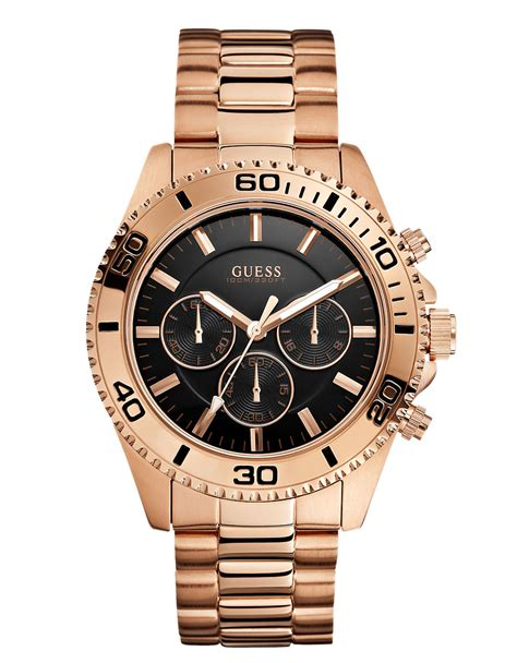 Guess Gs0253 Rosegold guess mens chronograph gold tone stainless steel bracelet 45mm in pink for
