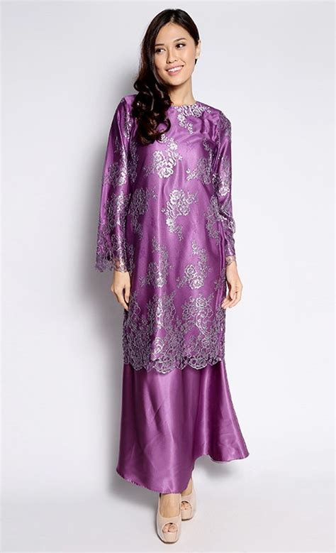 Organizer Baju Berdiri 3 Warna 05nd lace baju kurung in purple fashionvalet