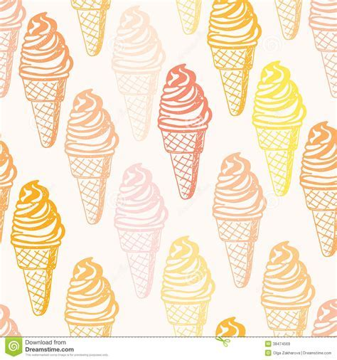 Perfect Seamless Pattern With Ice Cream Cones Stock Vector