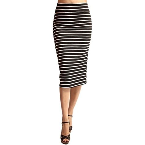 black and white stripe high waisted pencil skirt s from