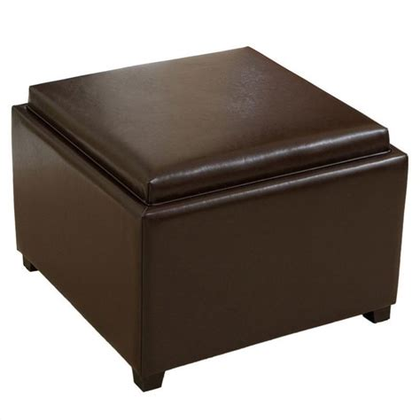 leather tray ottoman trent home bowery leather tray top ottoman 076632cy