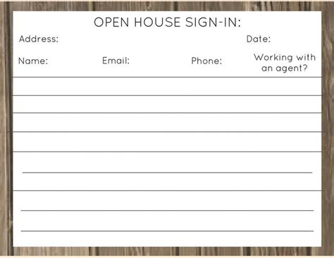 realtor open house sign in sheet template real estate open house sign in sheet printable tire
