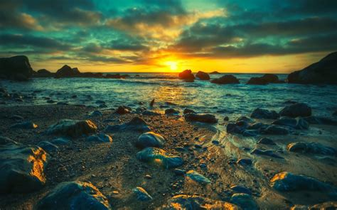 sunset landscapes nature sea shore