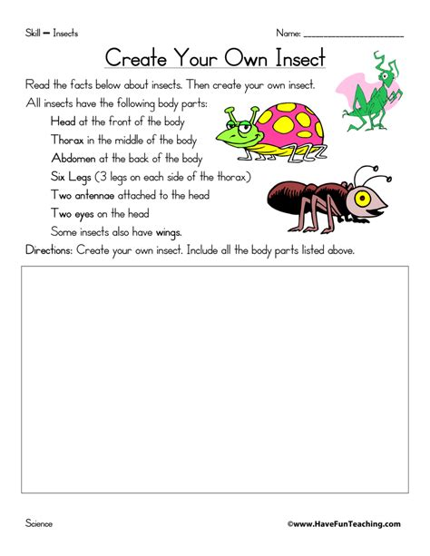 Create My Own Worksheet by Create Your Own Insect Worksheet Teaching