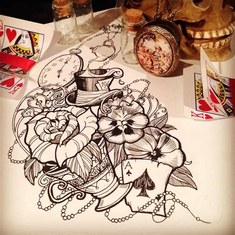 tattoo designs alice in wonderland sombrero de in tattoos and designs