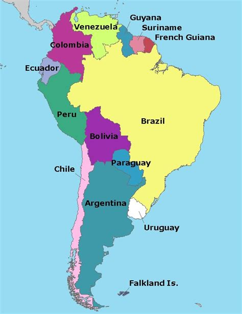 map of south american countries map of south america elizabeth the
