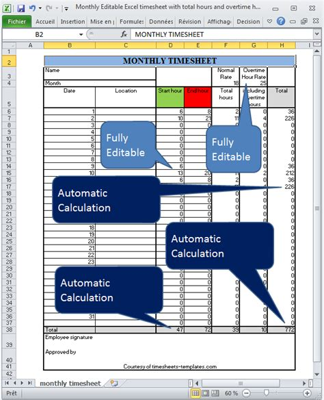 excel overtime spreadsheet template monthly editable excel timesheet with automatic