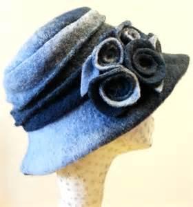 Handmade Fleece Hats - handmade blue felted wool hat with cosy fleece lining and