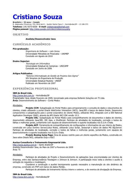 Modelo Curriculum Vitae Em Portugues Curr 237 Culo Portugu 234 S