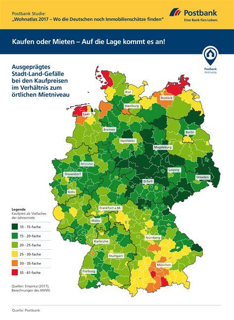 Waldhütte Mieten Deutschland by Postbank Studie Wohnatlas 2017 Kaufen Oder Mieten Auf