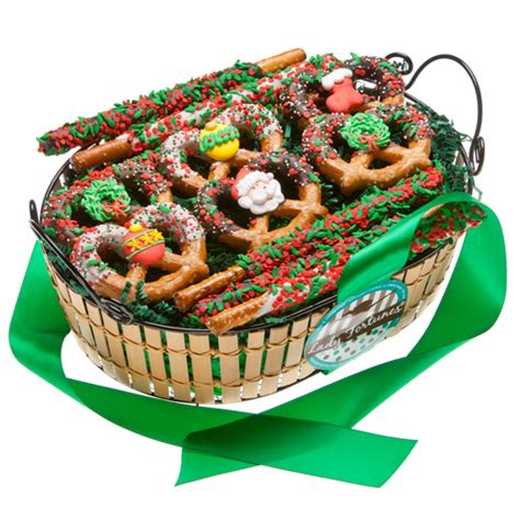 christmas chocolate pretzel gift basket cookie bouquets