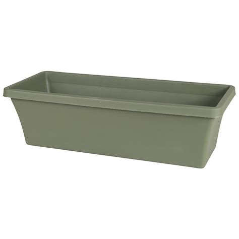 plastic planter boxes manufacturing 36 in x 15 in earth brown resin deck planter 9302 60 3700 the home depot