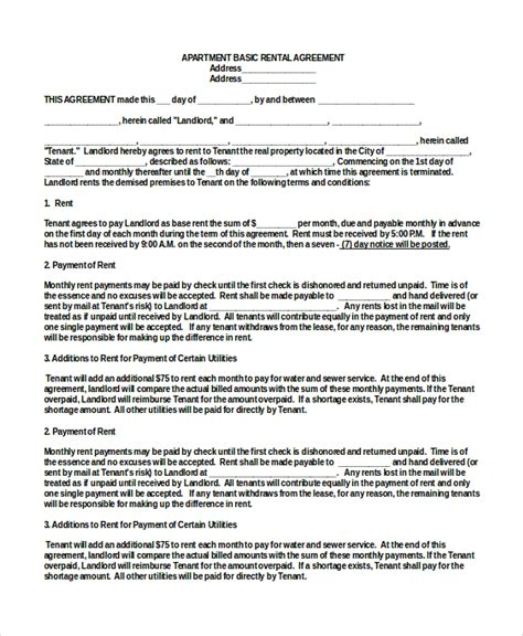 Basic Rental Agreement 10 Free Word Pdf Documents Download Free Premium Templates Free Apartment Lease Agreement Template