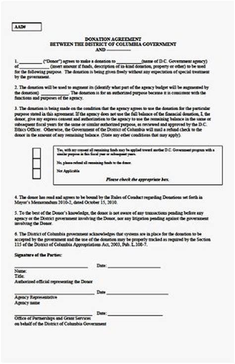 donation agreement template 6 0 completing the donation agreement opgs