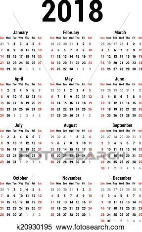 calendario clipart clipart of calendar 2018 k20930195 search clip