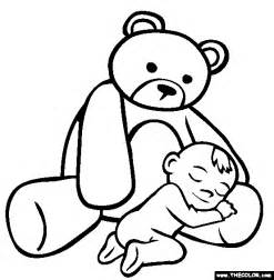 First Teddy Bear Online Coloring Page sketch template