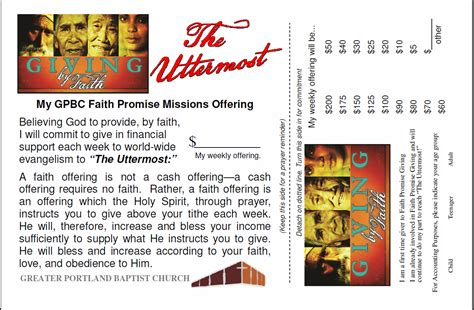 Faith Promise Card Template by Faith Promise Missions Commitments Coming In Greater