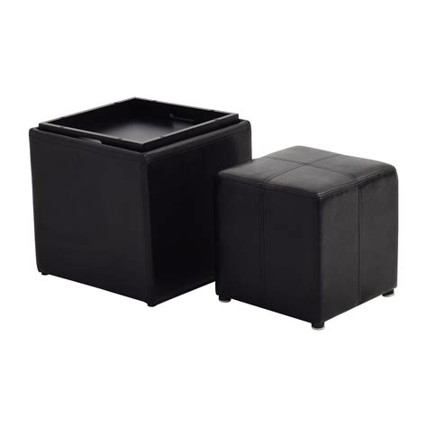 black ottoman storage 70 off black leather storage ottoman with smaller
