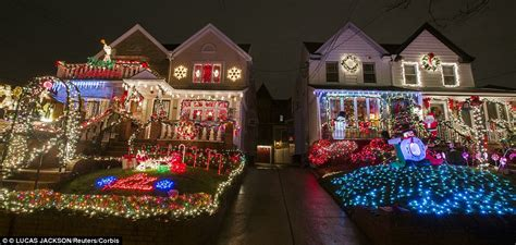 best christmas home decorations in brooklyn new york s most extravagant lights are in s dyker heights daily mail
