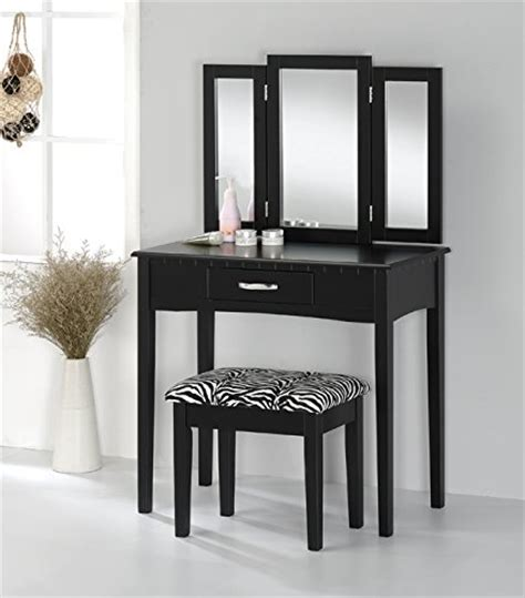 black vanity set with zebra bench contemporary vanity set with tri fold mirror and zebra