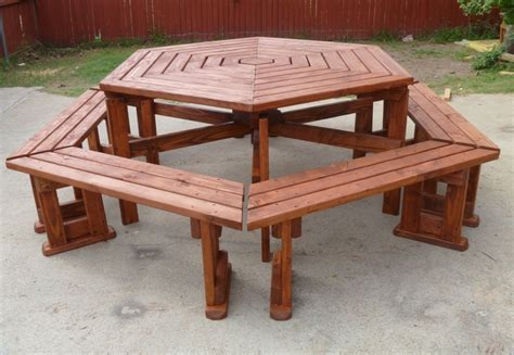detached hexagon picnic table for the yard pinterest