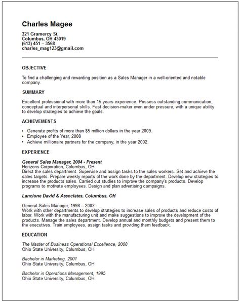 Exle Of General Resume Sales Marketing Resume Exles