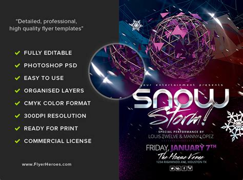 Snow Storm Flyer Template Flyerheroes Snowy Flyer Template