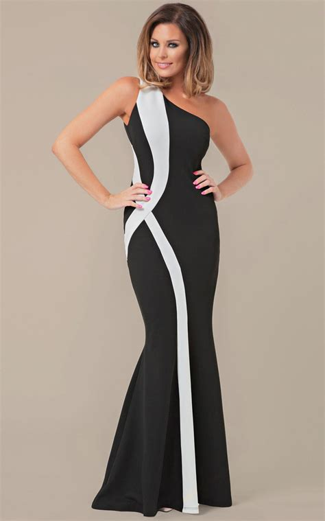 Bw Dress fashion black and white one shoulder gown n10176