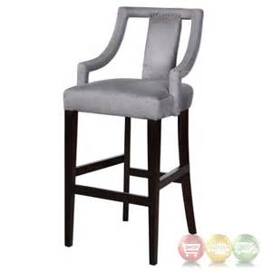 canice sleek charcoal gray bar stool with open armed back