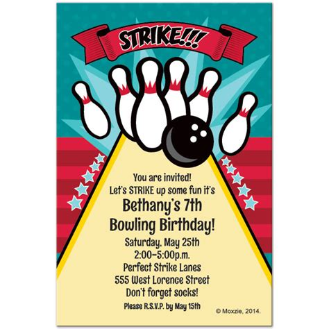 bowling birthday card template free printable bowling birthday invitations drevio