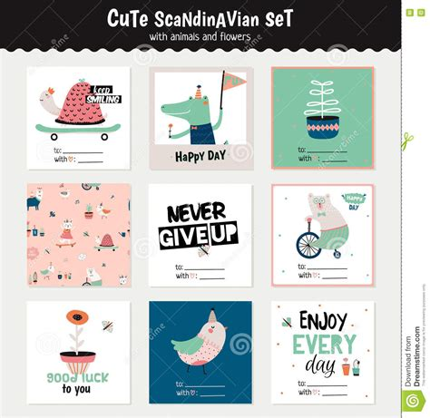 animal small gift cards template scandinavian set of greeting cards stock vector