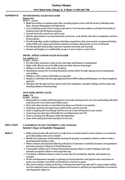Sales Manager Resume by Hotel Sales Manager Resume Sles Velvet