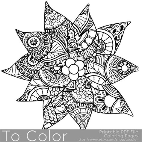 detailed coloring pages for christmas christmas coloring page for adults poinsettia coloring page