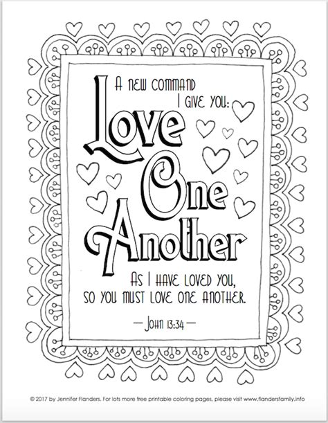 coloring page love one another valentine s coloring pages flanders family homelife