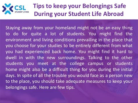 tips to keep your belongings safe during your student life