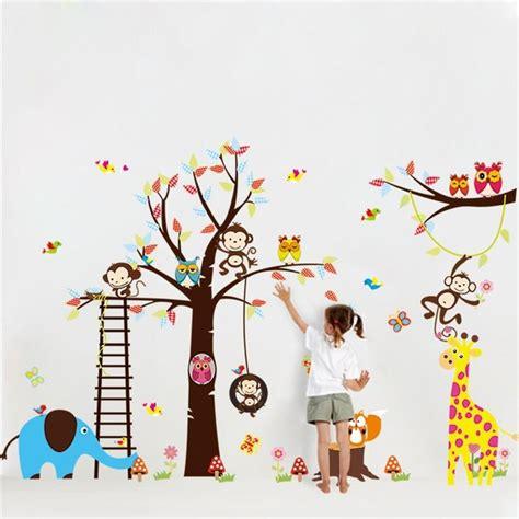 Kids Tree Wall Sticker grand arbre animaux stickers muraux pour chambre d enfants