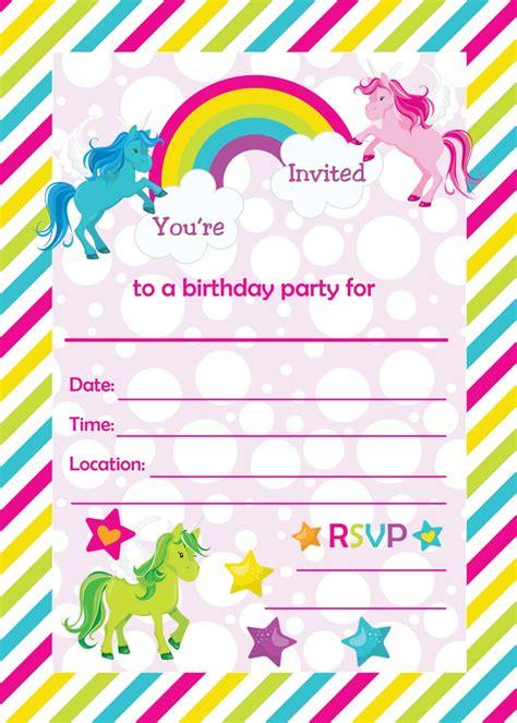 Printable Unicorn Birthday Invitations | fill in birthday party invitations printable rainbows and